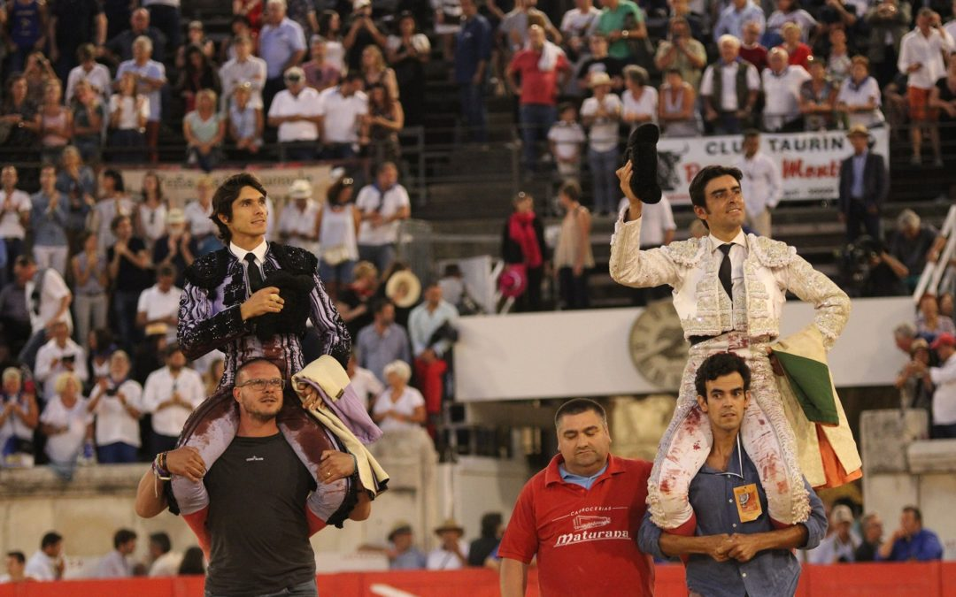 "Nîmes (14.09.2019, tarde). Miguel Angel Perera gracie ""Cazadotes"" et partage le triomphe avec Sebastien Castella."